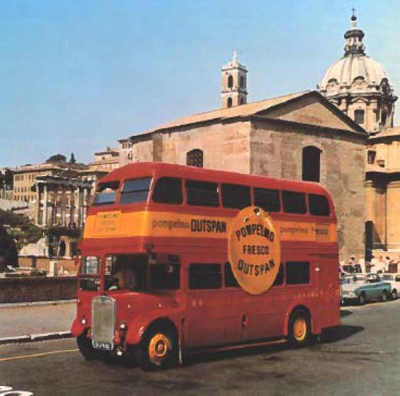London bus used as a mobile diet clinic. People were measured and weighed on board and given a grapefruit diet plan.