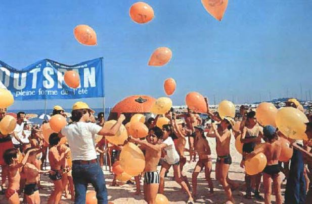 Excitement on a beach in France. Outspan is associated with summer and fresh orange juice